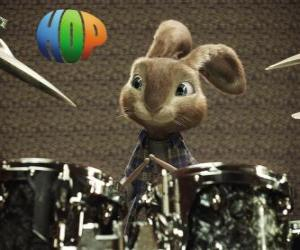 The rabbit Hop with the drumsticks to make music with the drum set puzzle