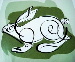 The rabbit, the rabbit sign, the Year of the Rabbit. The fourth animal in the Chinese horoscope puzzle