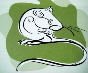 The rat, the sign of the Rat, the Year of the Rat. The first sign of the twelve animals of Chinese Zodiac puzzle