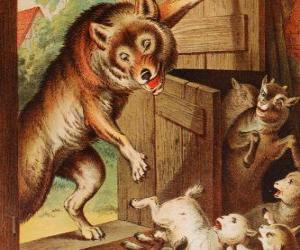 The seven little kids are scared and run and hide when they see the wolf at the door puzzle