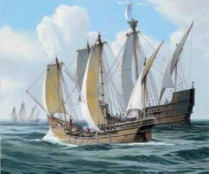 The ships of Columbus's first voyage was the ship Santa Maria, and the caravels, the Pinta and the Nina puzzle