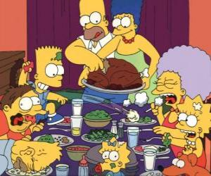 The Simpson family on the day of Thanksgiving where families gather to eat puzzle