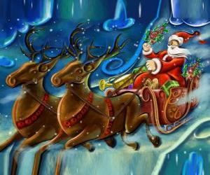 The sled full of gifts flying with Santa Claus and the magic reindeers puzzle