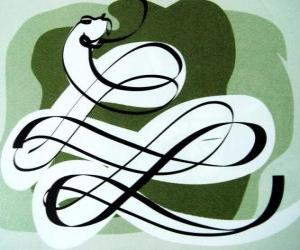The Snake, the sign of the Snake, Year of the Snake. The sixth of the Chinese horoscope signs puzzle