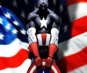 The superhero Captain America is a patriotic and an expert in close combat puzzle