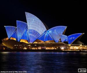 The Sydney Opera House at night puzzle