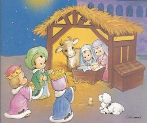 The Three Kings delivering their gifts, gold, frankincense and myrrh, to the infant Jesus puzzle