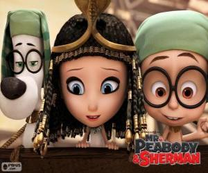 The three protagonists of the film Mr. Peabody and Sherman puzzle