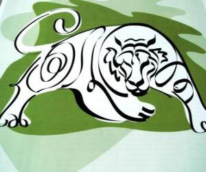 The tiger, the tiger sign, the Year of the Tiger. The third sign of the twelve animals of Chinese Zodiac puzzle