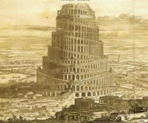 The Tower of Babel in which men sought to reach heaven puzzle