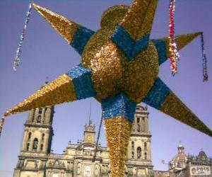 The traditional piñata in Mexico at Christmas, a nine-pointed star, the star of Bethlehem puzzle
