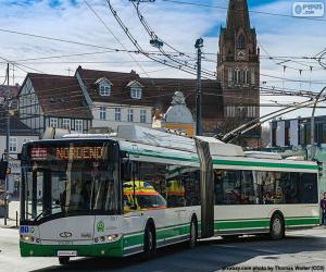 The trolleybus is an electric bus puzzle