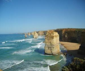 The Twelve Apostles, is a cluster of limestone needles protruding from the sea off the coast of Port Campbell National Park in Victoria, Australia. puzzle