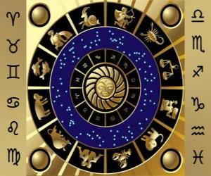 The twelve signs of the zodiac, the Zodiac Wheel or Circle of the Zodiac puzzle