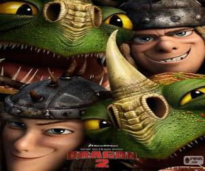 How to train your dragon puzzles jigsaw the twin brothers tuffnut and ruffnut thorston with their dragons ccuart Images