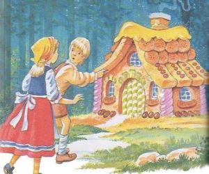 The two siblings Hansel and Gretel discover a house made of delicious candy puzzle