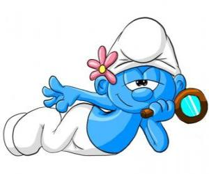 The Vanity Smurf with his beloved mirror puzzle
