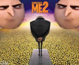 The villain Gru with his henchmen, the minions puzzle
