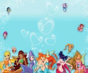 The Winx Club gathers her pixies or mini fairy puzzle