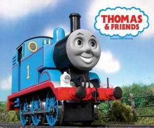 Thomas the Tank Engine is a steam locomotive and displays the running number 1. Thomas and Friends or Thomas the Tank Engine puzzle