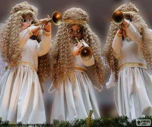Three angels playing the trumpet puzzle