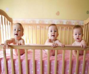 Three babies in a crib puzzle