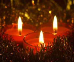 Three Christmas candles with burning wick puzzle