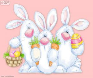 Three Easter rabbits puzzle