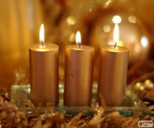Three Golden Christmas candles puzzle