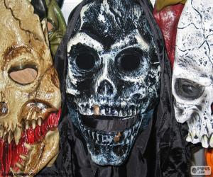 Three masks Halloween puzzle