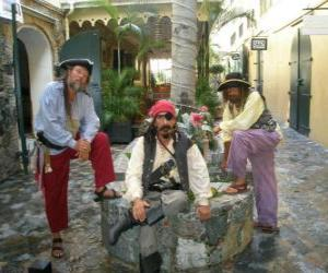 Three pirates, the captain and his helpers puzzle
