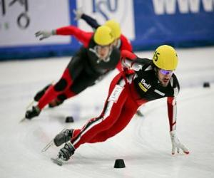 Three skaters in a speed skating race puzzle