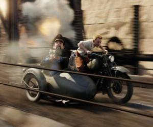Tintin driving a sidecar with their friends in one of his adventures puzzle
