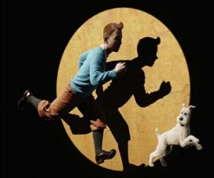 Tintin with his dog Snowy running puzzle