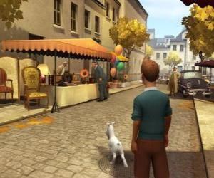 Tintin with his dog Snowy walking down the street puzzle