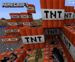 TNT explosive block of Minecraft puzzle