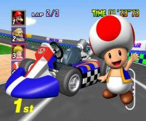Toad with a kart. Toad is a citizen of the Mushroom Kingdom and loyal servant of Princess Peach puzzle