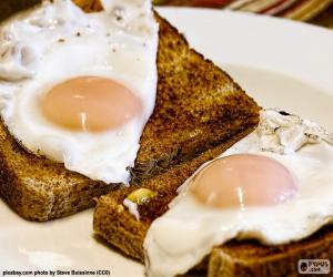 Toast with fried eggs puzzle