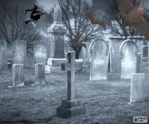 Tombs in the cemetery, Halloween puzzle
