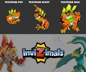 Toxitoad in three phases Toxitoad Pup, Toxitoad Scott and Toxitoad Max, Invizimals puzzle