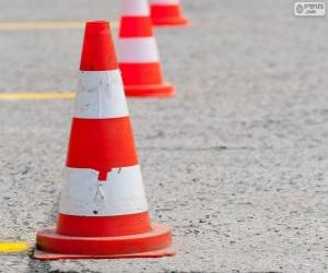 Traffic cone, signal for road safety puzzle