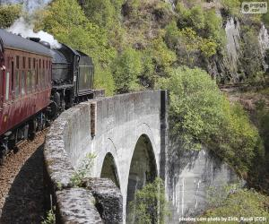 Train passing through a viaduct puzzle