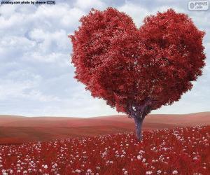 Tree heart shape puzzle