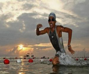 Triathlete at the swimming puzzle