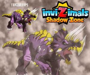 Triceratops. Invizimals Shadow Zone. Invizimals herbivore with large strength and bravery puzzle