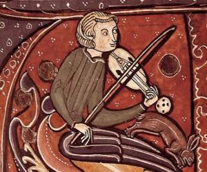 Troubadour or minstrel, poet singer-songwriter or entertainment artist of the Middle Ages in Europe puzzle