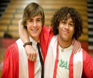 Troy Bolton (Zac Efron) and Chad (Corbin Bleu) the day of graduation puzzle