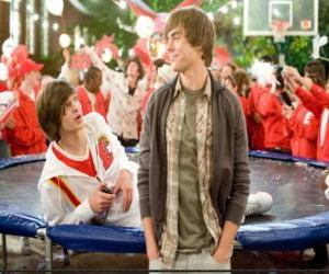 Troy Bolton (Zac Efron) in celebration after winning the basketball championship. puzzle