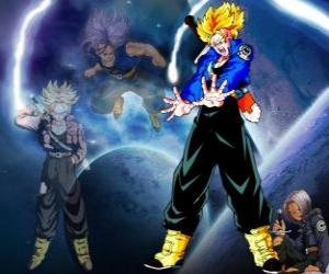Trunks is half human and half Saiyan, Vegeta and Bulma's son and brother of Bra. In the future, the only remaining saiyajin well as the protector of the earth. puzzle