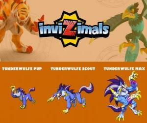 Tunderwulfe in three phases Tunderwulfe Pup, Tunderwulfe Scott and Tunderwulfe Max, Invizimals puzzle